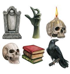 watercolor halloween gothic icon set vector image