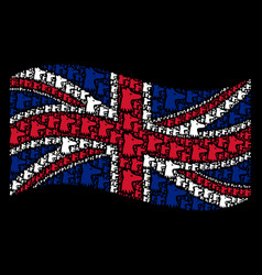 waving uk flag collage of fox head icons vector image