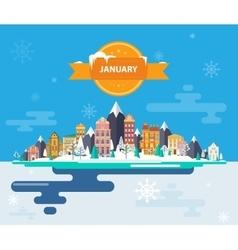 Winter landscape Small town vector
