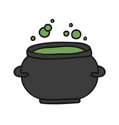 Witch cauldron with green gurgling potion doodle vector
