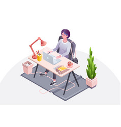 woman at workplace office vector image
