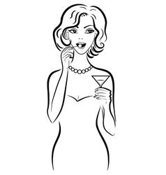 Woman drinking martini vector