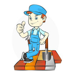 Worker laying paving tiles vector