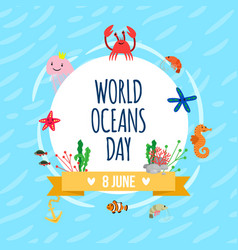 World oceans day poster vector