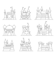 castles and fortresses flat design icons vector image vector image