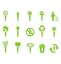 green eco icons stick figures series vector image vector image