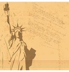 retro statue of liberty background vector image