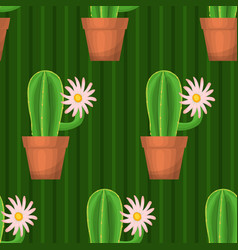 Seamless pattern with cactus vector