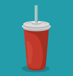 soda glass with straw vector image