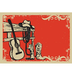 Vintage poster with cowboy clothes and music vector image vector image