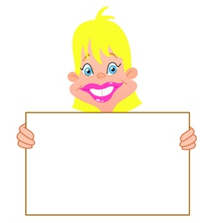 blond girl with sign vector image