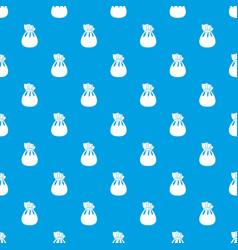 christmas bag of santa claus pattern seamless blue vector image vector image