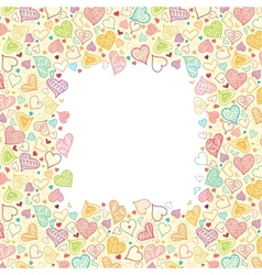 Doodle Hearts Vertical Frame Background Border vector image vector image