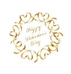 gold valentine message frame with text space vector image