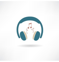 Headphones and notes icon vector