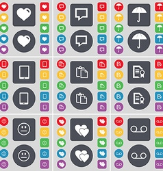 Heart chat bubble umbrella tablet pc survey text vector