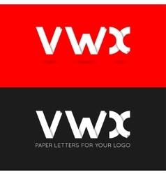 letter V W X logo paper set background vector image vector image