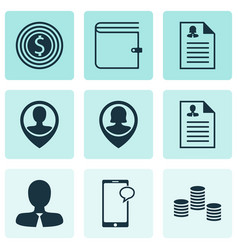 Set of 9 human resources icons includes messaging vector