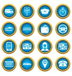 taxi icons blue circle set vector image
