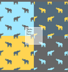 colorful elephants silhouette vector image