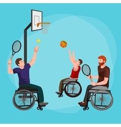 Disable handicap sport paralympic games stick vector
