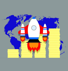 global financial success of launch start up vector image