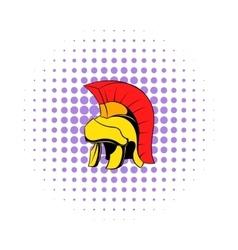 Roman legionary helmet icon comics style vector image