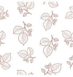 seamless pattern with hazelnut tree branches vector image vector image