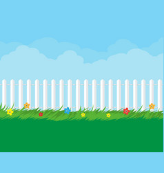 summer nature landscape with plants and fence vector image