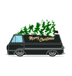 vintage green car with christmas tree christmas vector image vector image