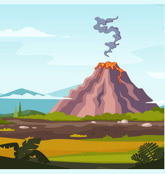 wild landscape with volcano and lava cartoon vector image vector image