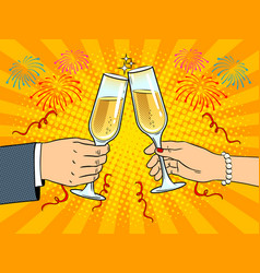 clinking glasses with champagne pop art vector image
