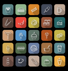 fast food line flat icons with long shadow vector image vector image