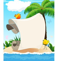 Small island with palm tree and birds vector image