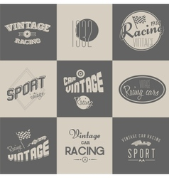 Vintage car racing badges vector image vector image