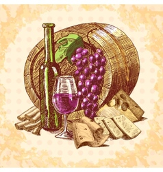 Wine cheese emblem vector image