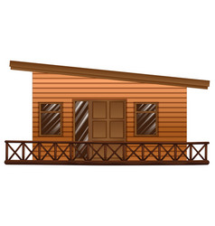 wooden hut with terrace vector image vector image