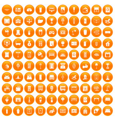 100 interior icons set orange vector image