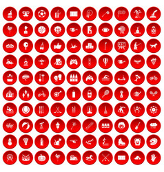 100 kids activity icons set red vector image