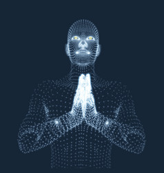3d model of man man who prays concept vector