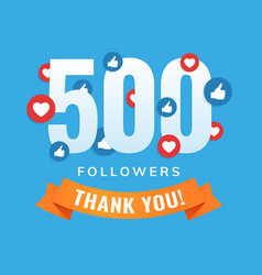 500 followers social sites post greeting card vector