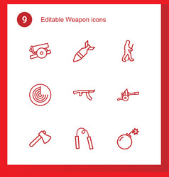 9 weapon icons vector