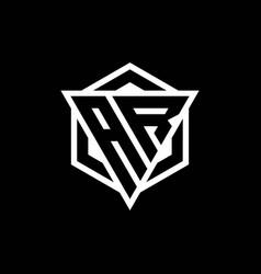 Ar logo monogram with triangle and hexagon shape vector