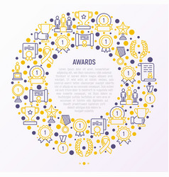 awards concept in circle with thin line icons vector image