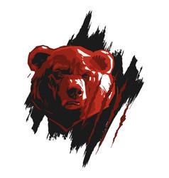 Bear in black brushstroke vector