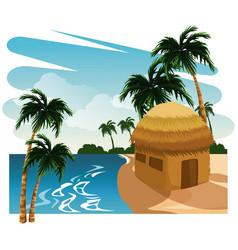 Beautiful island cartoon vector