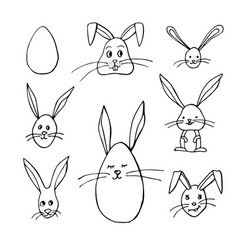 black and white easter bunnys vector image