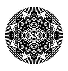Black and white henna tattoo mandala om vector