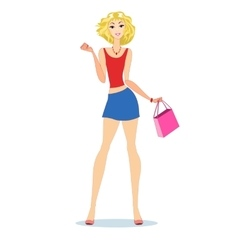 blond with shopping bags vector image