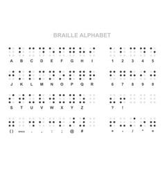 braille alphabet numbers and punctuation set vector image
